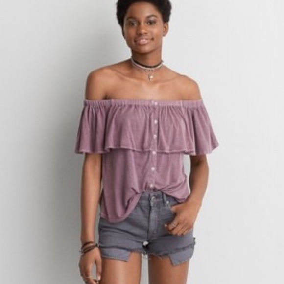 3608a2f3b3a9eb American Eagle Outfitters Tops - AMERICAN EAGLE Teal button down off  shoulder top
